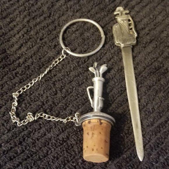 2 Vtg Golf Themed Items Wine Cork & Letter Opener